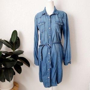 Gap Denim Jean Chambray Button Down Shirt Dress